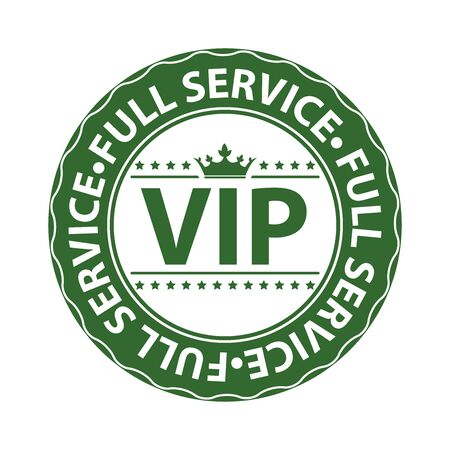 crucial: Green VIP Full Service Icon Label Button Badge or Sticker Isolated on White Background Stock Photo