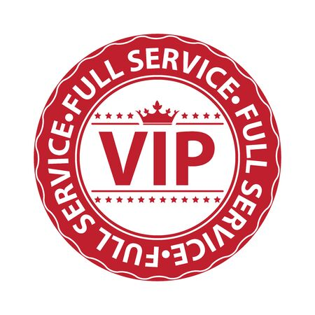 Red VIP Full Service Icon Label Button Badge or Sticker Isolated on White Background