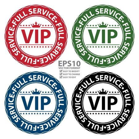 crucial: Vector : Colorful VIP Full Service Icon Label Button Badge or Sticker Isolated on White Background