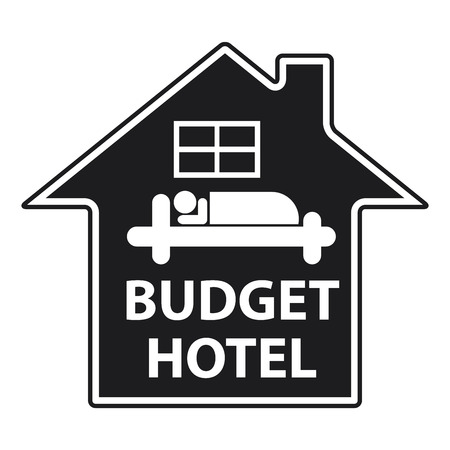Blue Budget Hotel Icon or Label Isolated on White Background
