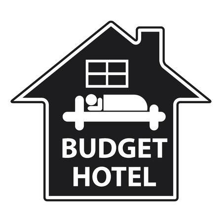 accomodation: Blue Budget Hotel Icon or Label Isolated on White Background