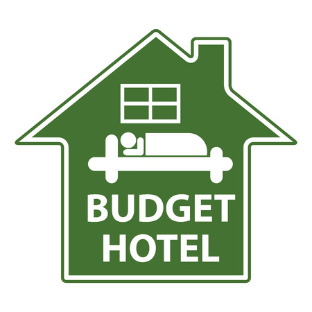 holidays vacancy: Green Budget Hotel Icon or Label Isolated on White Background Stock Photo