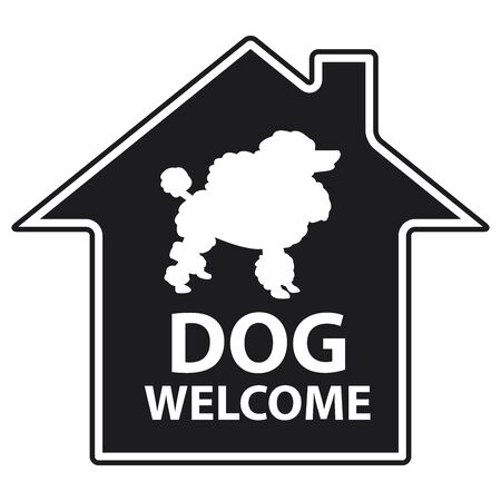 accomodation: Black Sticker Icon or Label for Dog Welcome Hotel or Other Business Isolated on White Background Stock Photo