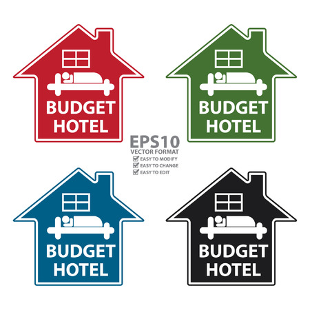 accomodation: Vector : Colorful Budget Hotel Icon or Label Isolated on White Background