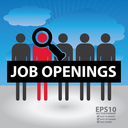 candidate: Vector : Group of Candidate With Magnifying Glass and Job Openings Sign in Blue Sky Background