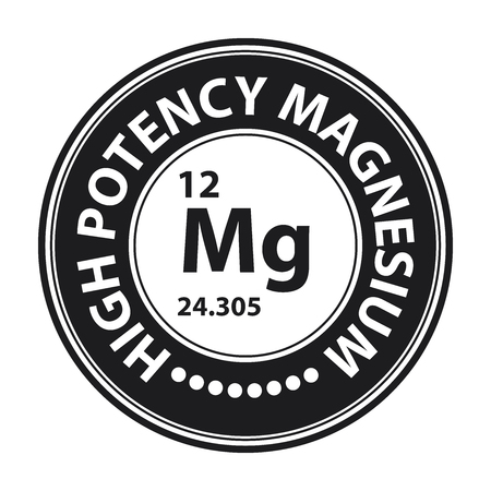 potency: Black Circle High Potency Magnesium With Atomic Number Sign Icon Label or Sticker Isolated on White Background