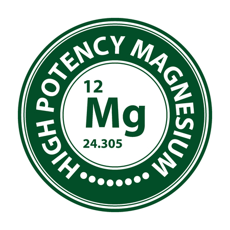 potency: Green Circle High Potency Magnesium With Atomic Number Sign Icon Label or Sticker Isolated on White Background Stock Photo