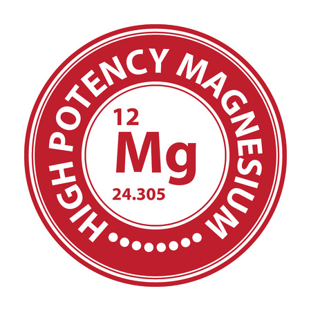 potency: Red Circle High Potency Magnesium With Atomic Number Sign Icon Label or Sticker Isolated on White Background Stock Photo