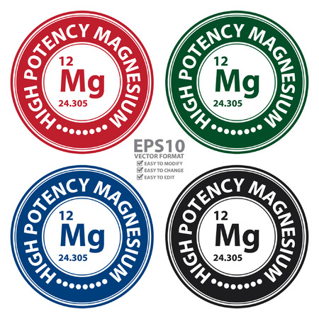 potency: Vector : Circle High Potency Magnesium With Atomic Number Sign Icon Label or Sticker Isolated on White Background