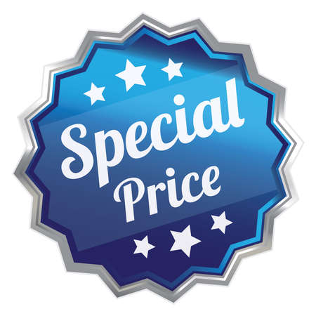 grand sale sticker: Blue Metallic Special Price Icon Label Sticker Sign or Banner Isolated on White Background