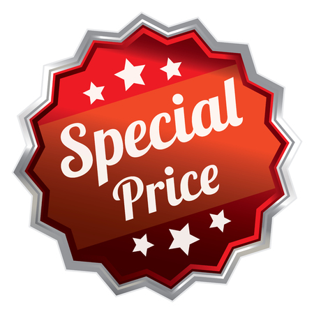 red metallic: Red Metallic Special Price Icon Label Sticker Sign or Banner Isolated on White Background