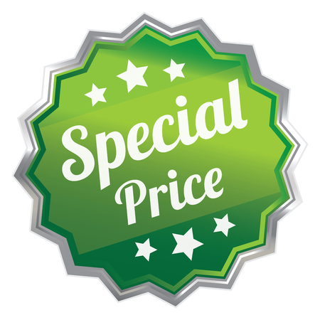 grand sale icon: Green Metallic Special Price Icon Label Sticker Sign or Banner Isolated on White Background Stock Photo