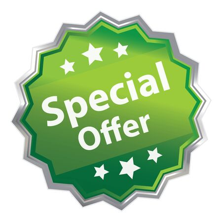grand sale sticker: Green Metallic Special Offer Icon Label Sticker Sign or Banner Isolated on White Background