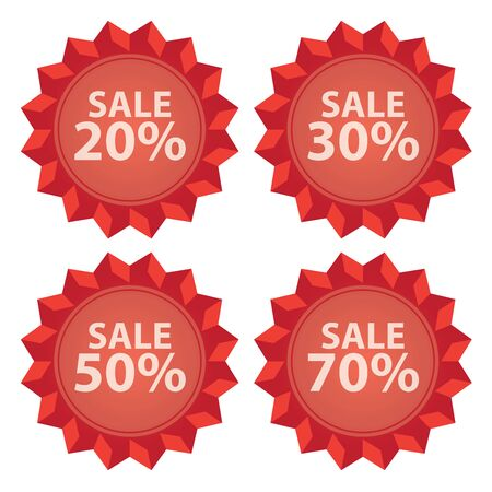stock price quote: Red Sale 20  70 Percent Icon or Label Seasonal Special Promotion or Marketing Material Isolated on White Background