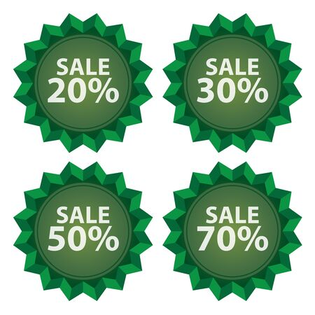 stock price quote: Green Sale 20  70 Percent Icon or Label Seasonal Special Promotion or Marketing Material Isolated on White Background