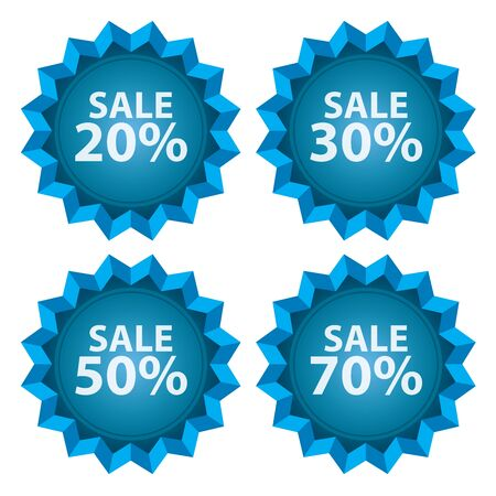stock price quote: Blue Sale 20  70 Percent Icon or Label Seasonal Special Promotion or Marketing Material Isolated on White Background