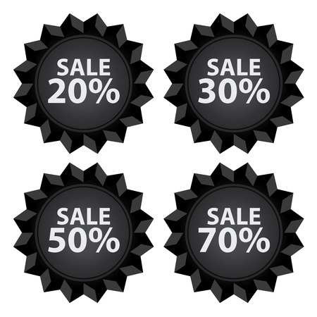 stock price quote: Black Sale 20  70 Percent Icon or Label Seasonal Special Promotion or Marketing Material Isolated on White Background Stock Photo