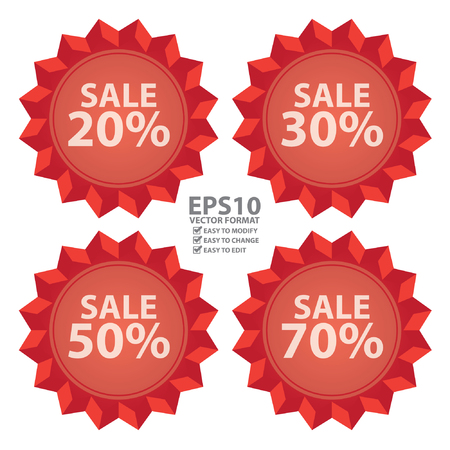 Vector : Seasonal Special Promotion or Marketing Material Red Sale 20  70 Percent Icon or Label Isolated on White Background Illustration