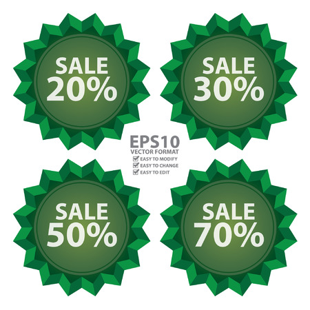 stock price quote: Vector : Seasonal Special Promotion or Marketing Material Green Sale 20  70 Percent Icon or Label Isolated on White Background Illustration