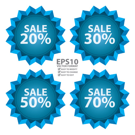 Vector : Seasonal Special Promotion or Marketing Material Blue Sale 20  70 Percent Icon or Label Isolated on White Background