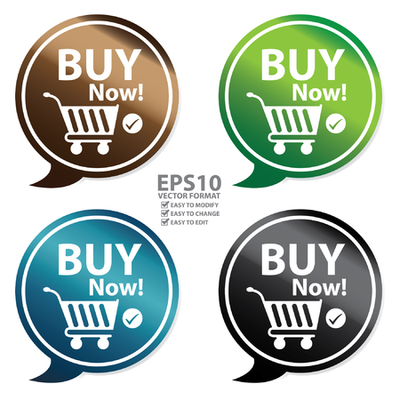 Vector : Colorful Glossy Style Buy Now Speech Balloon Icon Sticker or Label Isolated on White Background Illustration
