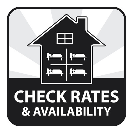 availability: Black Square Check Rates and Availability IconSticker or Label Isolated on White Background Stock Photo