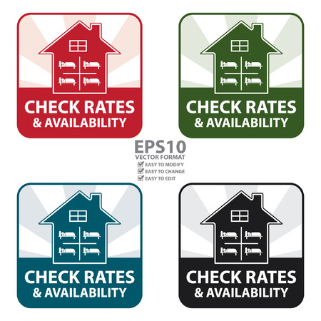 availability: Vector : Colorful Square Check Rates and Availability IconSticker or Label Isolated on White Background Illustration