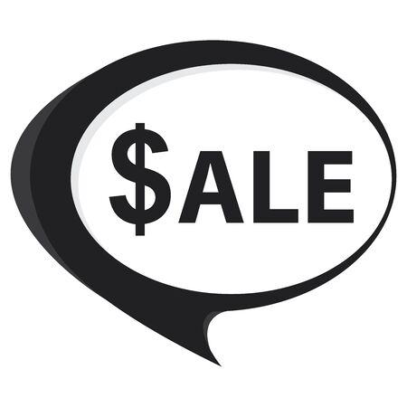 stock price quote: Black Sale Speech Balloon Icon Isolated on White Background