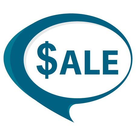 stock price quote: Blue Sale Speech Balloon Icon Isolated on White Background