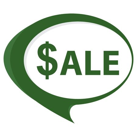 stock price quote: Green Sale Speech Balloon Icon Isolated on White Background Stock Photo
