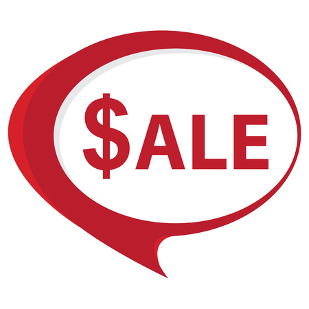 stock price quote: Red Sale Speech Balloon Icon Isolated on White Background Stock Photo