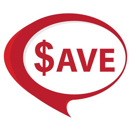 Red Save Speech Balloon Icon Isolated on White Background