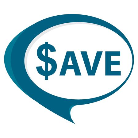 stock price quote: Blue Save Speech Balloon Icon Isolated on White Background Stock Photo