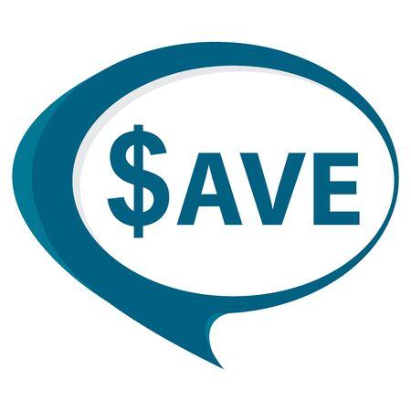 Blue Save Speech Balloon Icon Isolated on White Background Stock Photo
