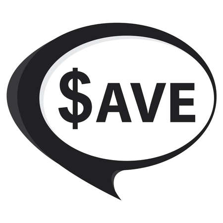 stock price quote: Black Save Speech Balloon Icon Isolated on White Background