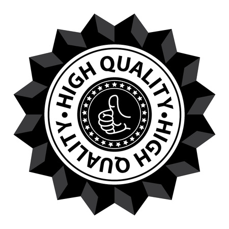 qc: Black High Quality Sign Icon Label or Sticker Isolated on White Background