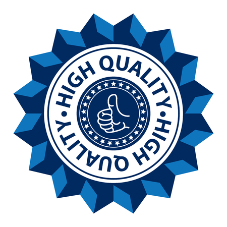 qc: Blue High Quality Sign Icon Label or Sticker Isolated on White Background