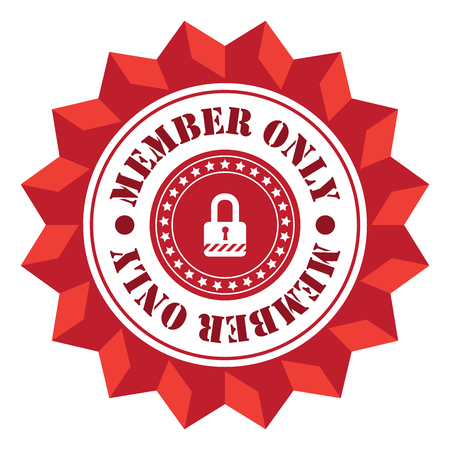 secret society: Red Member Only  Sign Icon Label or Sticker Isolated on White Background