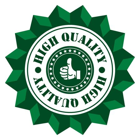 qc: Green High Quality Sign Icon Label or Sticker Isolated on White Background Stock Photo