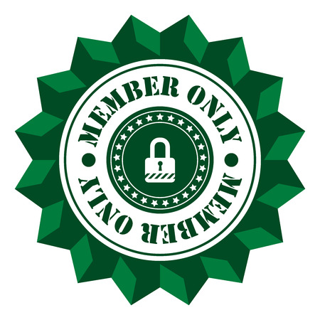 secret society: Green Member Only  Sign Icon Label or Sticker Isolated on White Background