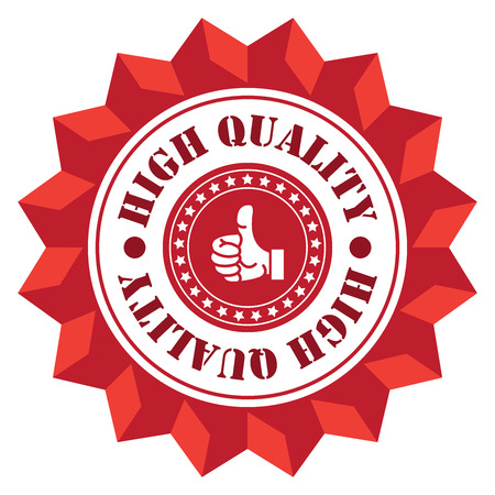 qc: Red High Quality Sign Icon Label or Sticker Isolated on White Background
