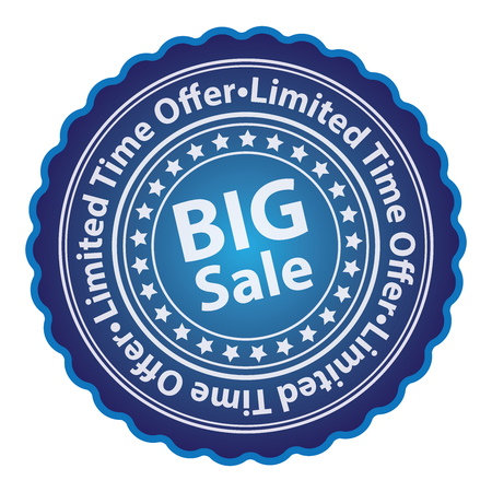 limited time: Blue Glossy Style Big Sale Limited Time Offer Sticker Label Tag or Icon Isolated on White Background