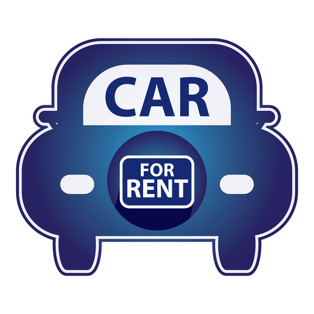 shiny car: Blue Shiny Style Car For Rent Icon Sticker or Label Isolated on White Background