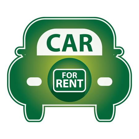 shiny car: Green Shiny Style Car For Rent Icon Sticker or Label Isolated on White Background