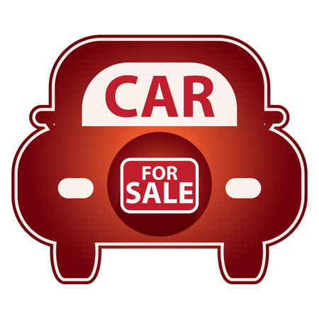 car for sale: Red Shiny Style Car For Sale Icon Sticker or Label Isolated on White Background