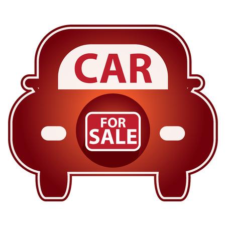 Rouge Brillant Style de voiture à vendre Icône autocollant ou étiquette isolé sur fond blanc Banque d'images - 39895514