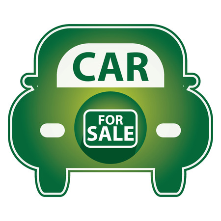 car for sale: Green Shiny Style Car For Sale Icon Sticker or Label Isolated on White Background