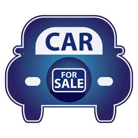car for sale: Blue Shiny Style Car For Sale Icon Sticker or Label Isolated on White Background Stock Photo