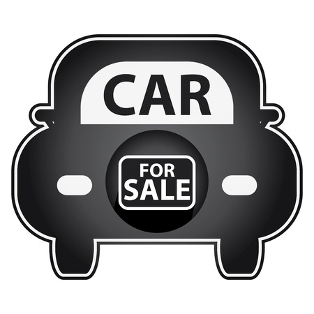 car for sale: Black Shiny Style Car For Sale Icon Sticker or Label Isolated on White Background