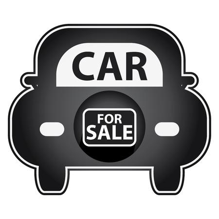 Noir Brillant Style de voiture à vendre Icône autocollant ou étiquette isolé sur fond blanc Banque d'images - 39895517